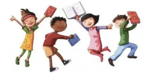 Illustration of four kids with books